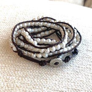 Fresh Water Pearl & Leather Wrap Bracelet